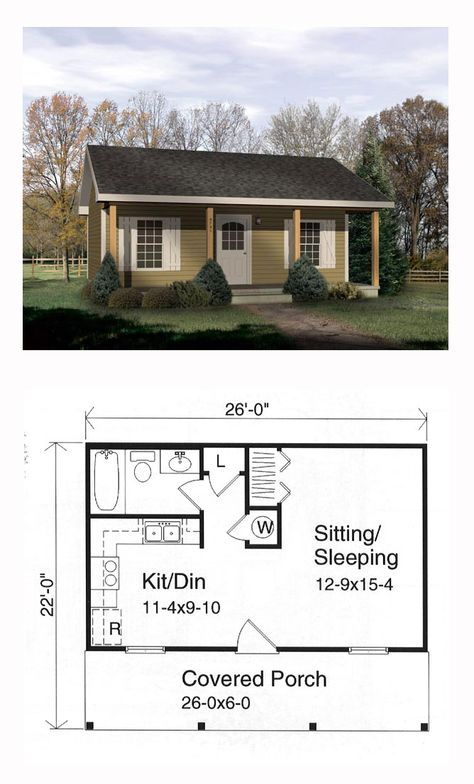 One Story Style House Plan 49127 With 1 Bed 1 Bath Tiny House Floor Plans Tiny House Plans Floor Plans