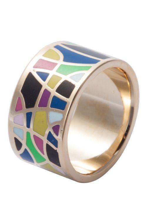 Round Colored Geometric Print Ring