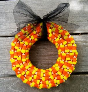 DIY Halloween candy corn wreath
