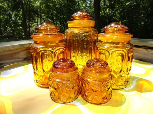 VTG MID Century Modern LE SMITH Amber Yellow Glass Star Moons Canisters RETRO 5