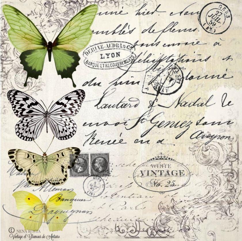 L minas decoupage mariposas rosas vintage transfer - Laminas decorativas vintage ...