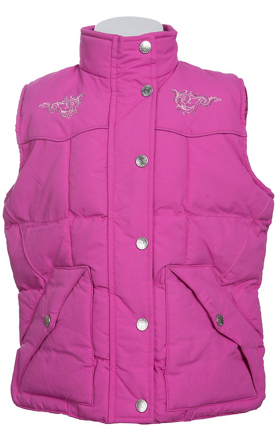 Cowgirl Hardware® Girls Pink with Horse Embroidery & Rhinestuds Vest