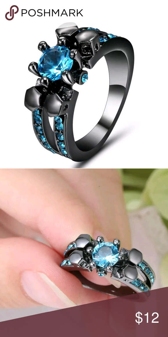 10k Black Gold Aquamarine Ring Sz 7 10k Black Gold Aquamarine