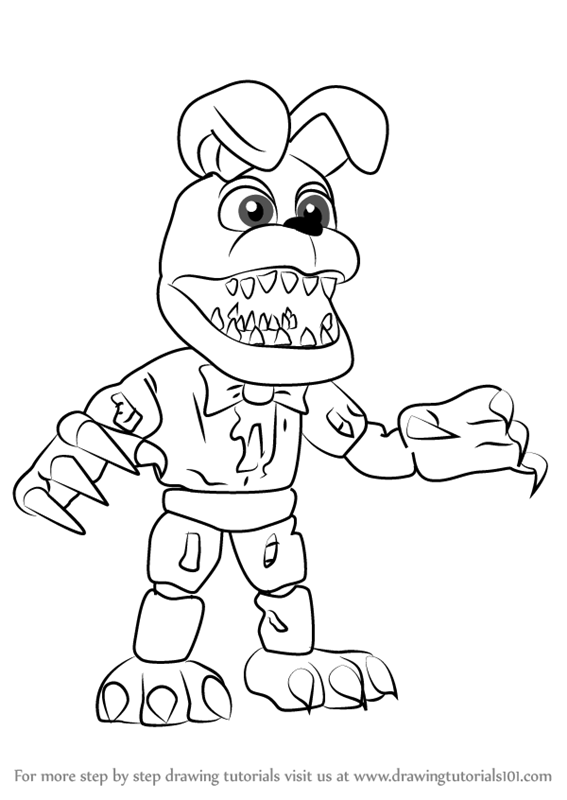 Learn How To Draw Nightmare Bonnie From Five Nights At Freddy S Five Nights At Freddy S Step By St Fnaf Coloring Pages Dinosaur Coloring Pages Coloring Pages