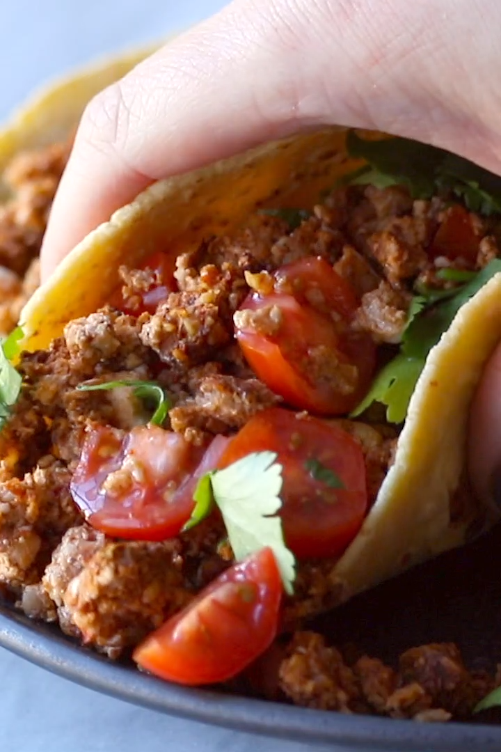 This vegetarian taco meat is made with cauliflower, walnuts, and chipotle peppers. It's so easy: just mix and bake. Meatless miracle!