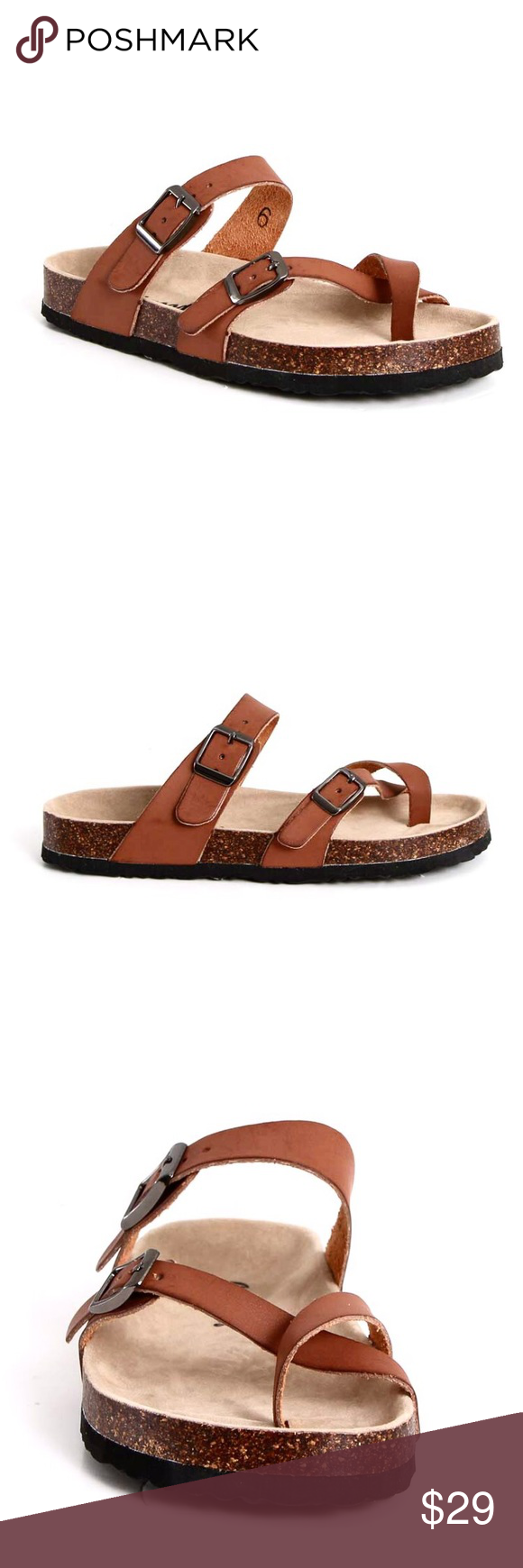 cfbec35ecc2c Outwoods Brown Sandals Silhouette sandal features adjustable buckles,  synthetic suede cork footbed and lightly padded insole. Medium width, runs  a size ...