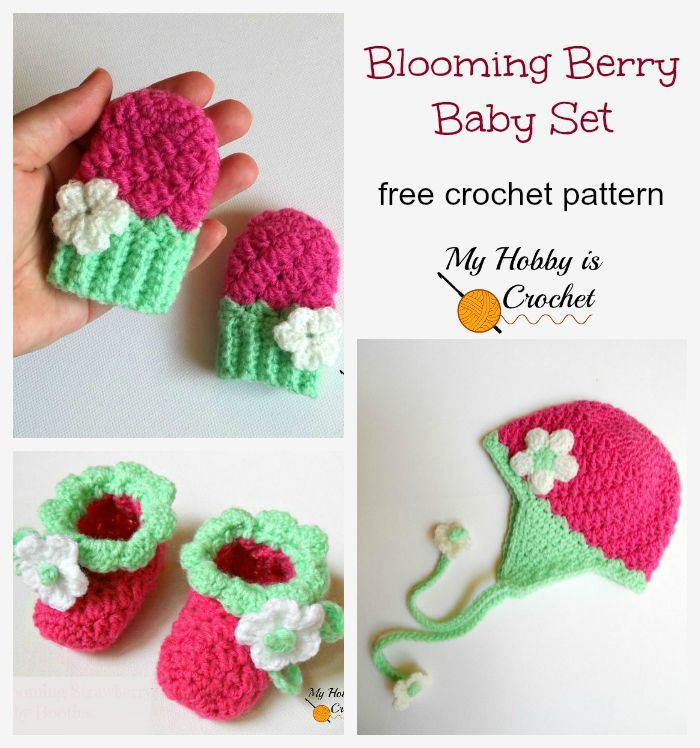 Free Crochet Pattern: Blooming Berry Baby Set of Mittens, Booties ...