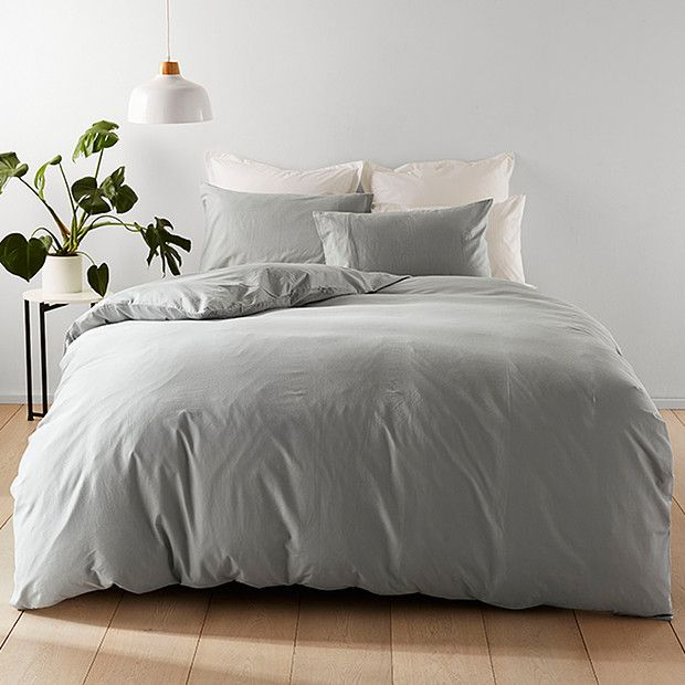 Washed Cotton Quilt Cover Set Grey