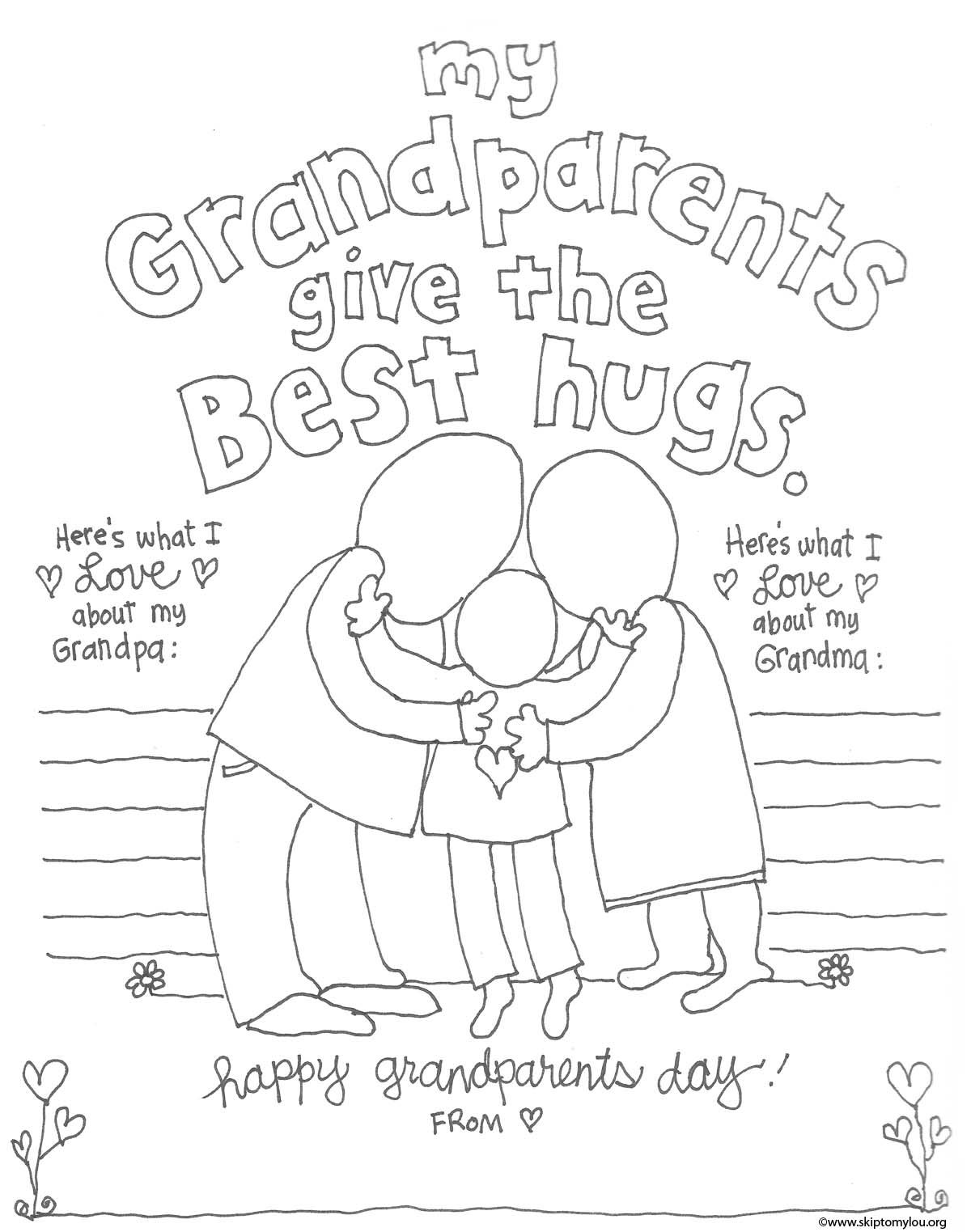Grandparent Coloring Pages Grandparents Day Crafts Happy
