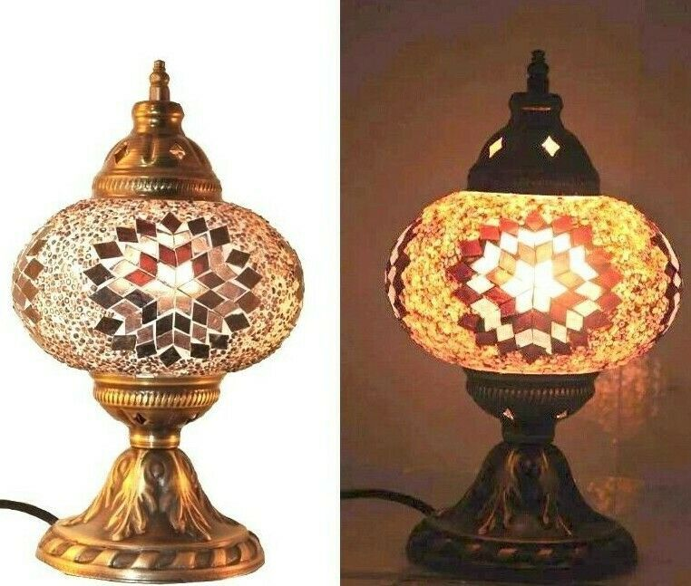 Large Mosaic Lamp Turkish Moroccan Table Glass Handmade Multi