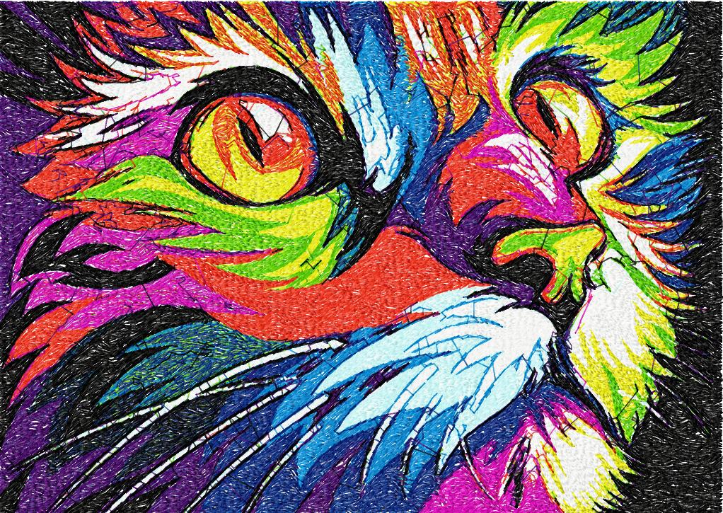 Cat In Bright Colors Photo Stitch Free Embroidery Design Photo