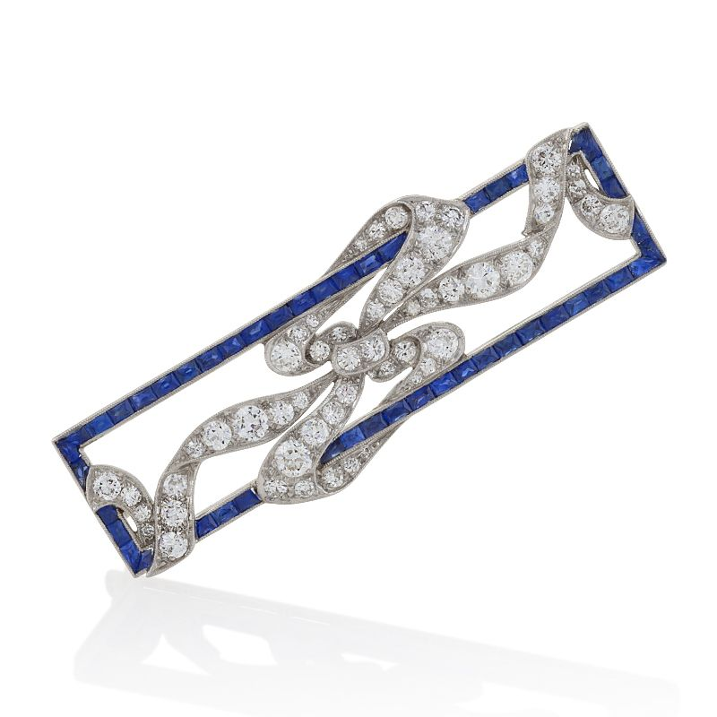 Fine Jewelry Special Section Platinum Sterling Silver Diamond Set Multi Sapphire Unique Flower Pin Brooch New