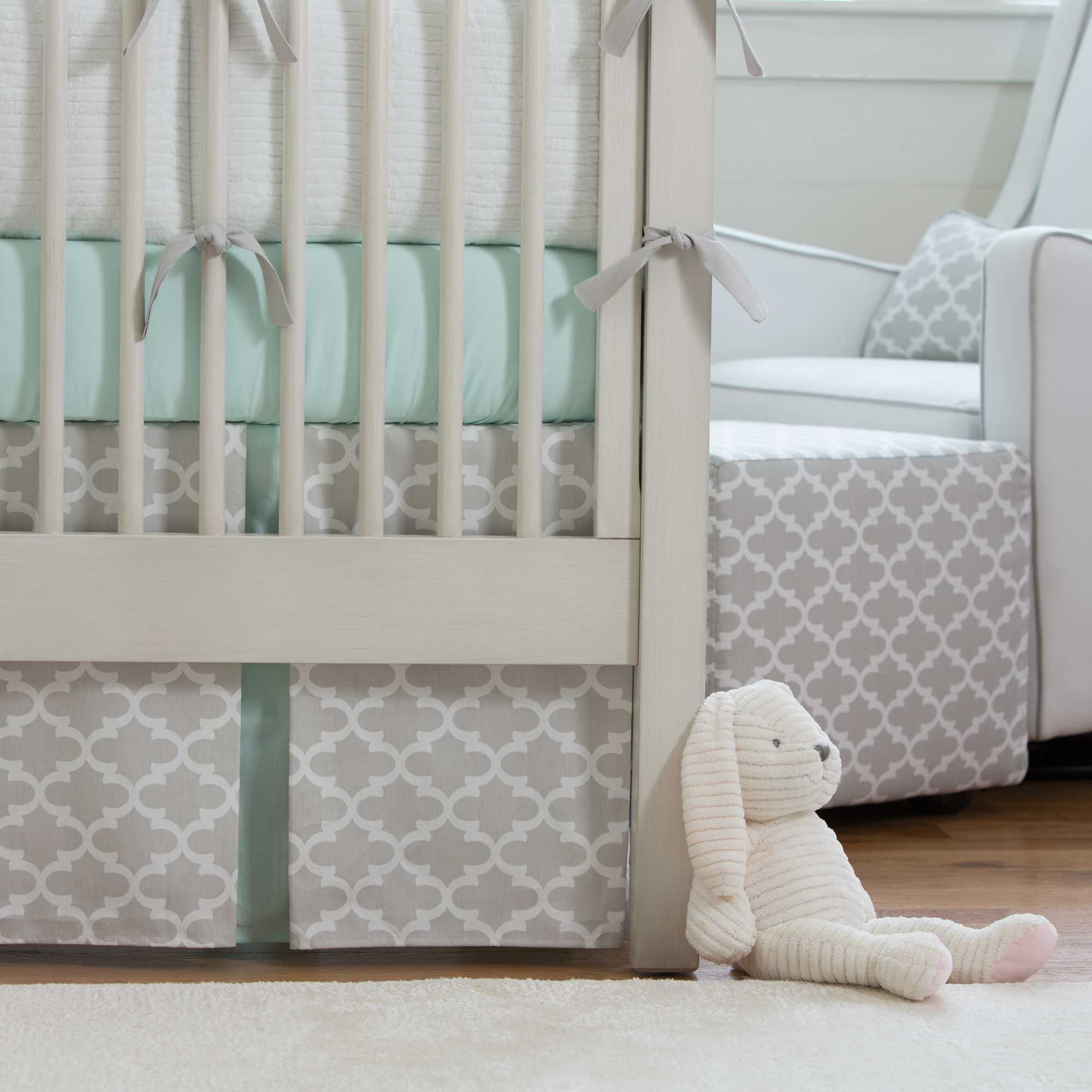 french gray and mint quatrefoil 2 piece crib bedding set pinterest