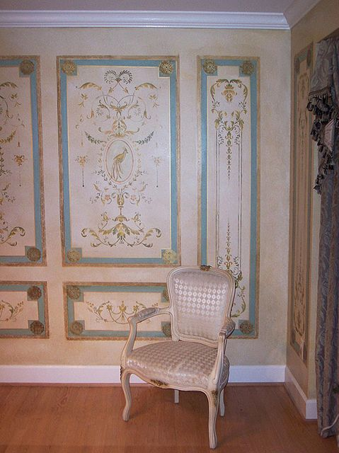 Stenciled french panels. Beautiful wall stencils by Cutting Edge Stencils. by cuttingedgestencils, via Flickr