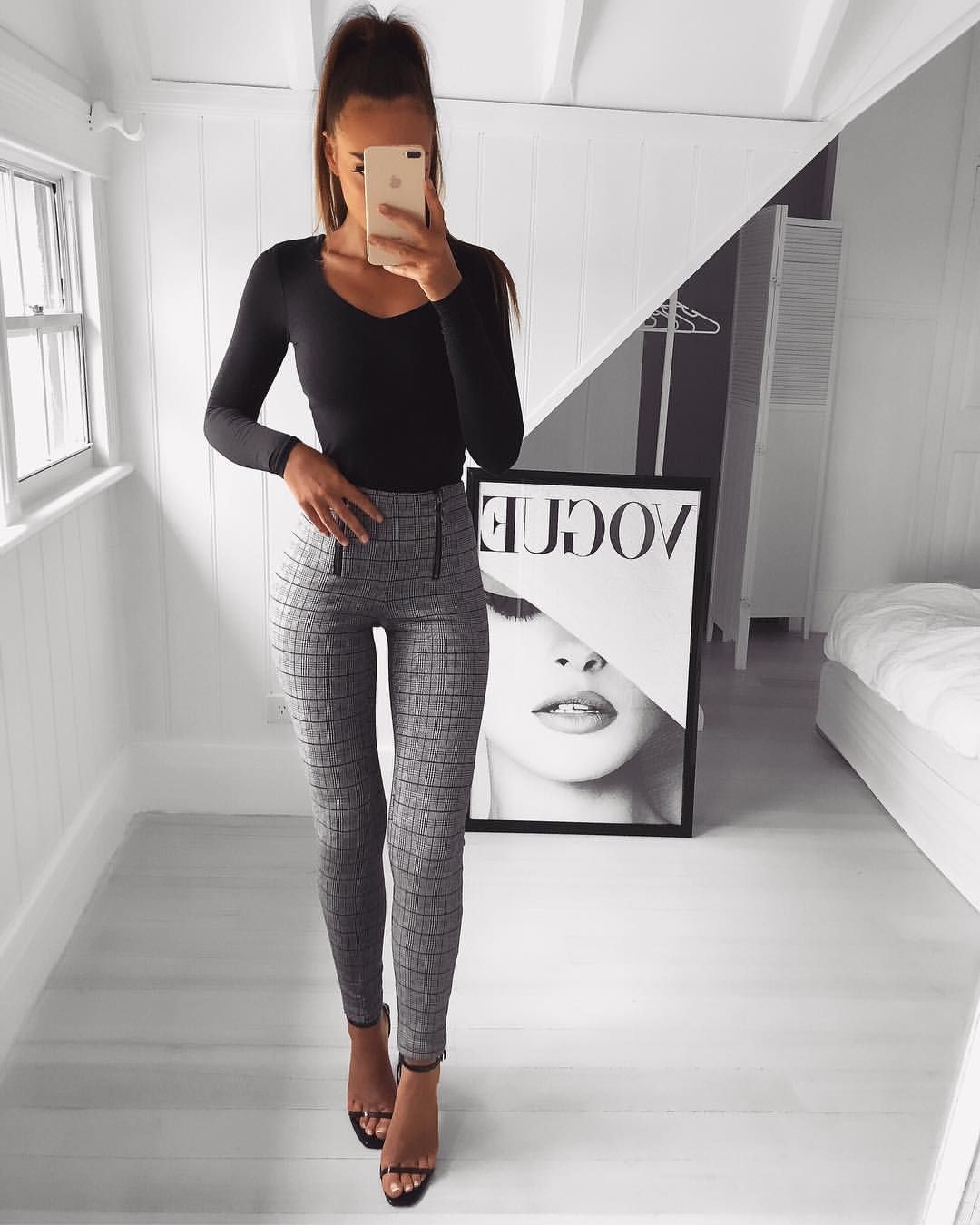 d7405a198d7 Outfit details- Olivia plaid leggings- black Grey XS from  fashionnova