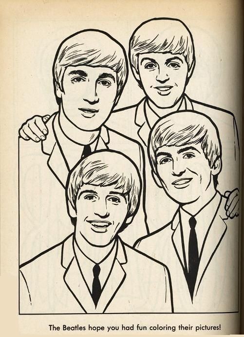 The Beatles Coloring Page 05 Coloring Books Beatles Cartoon Coloring Pages