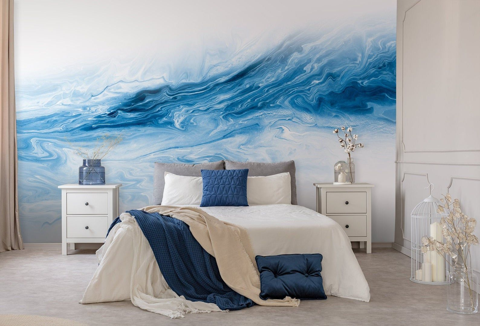 Abstract Blue Wall Mural Peel And Stick Wallpaper Hand Etsy Watercolor Wallpaper Wallpaper Textured Wallpaper