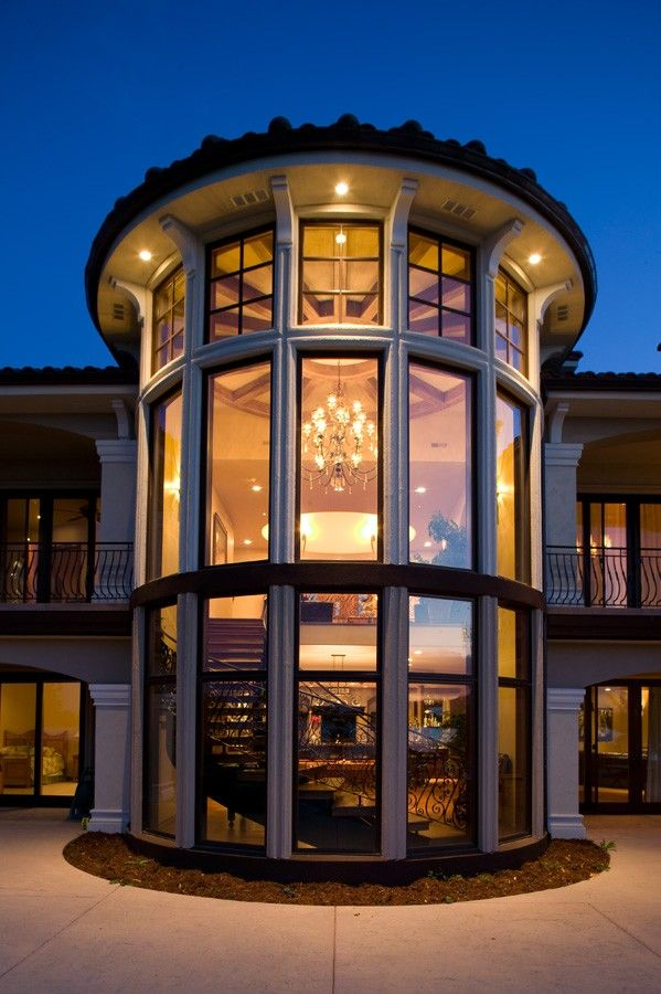 Mediterranean Staircase Tower : Grand contemporary mediterranean style home on the lake