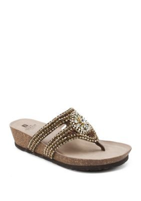 White Mountain Busy Embellished Sandal is part of Comfy wedges sandals, Embellished sandals, Low wedge sandals, Size 11 women shoes, Chic sandals, Womens high heels - Comfort technology and an embellished strap make these low wedge sandals by White Mountain a warmweather favorite