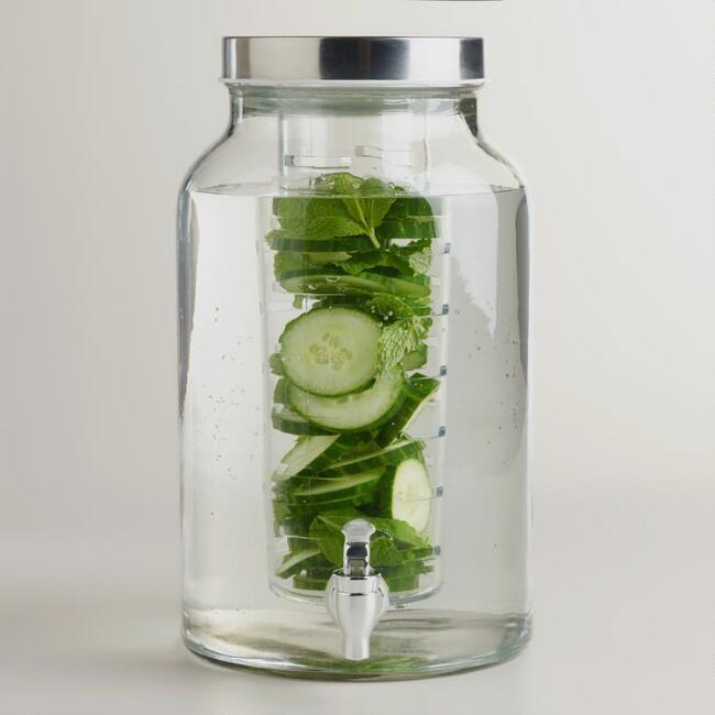 Glass Infuser Dispenser | Clog Free Beverage Dispenser | Outdoor Entertaining | Summer Drinks | Big Batch Drinks #ad