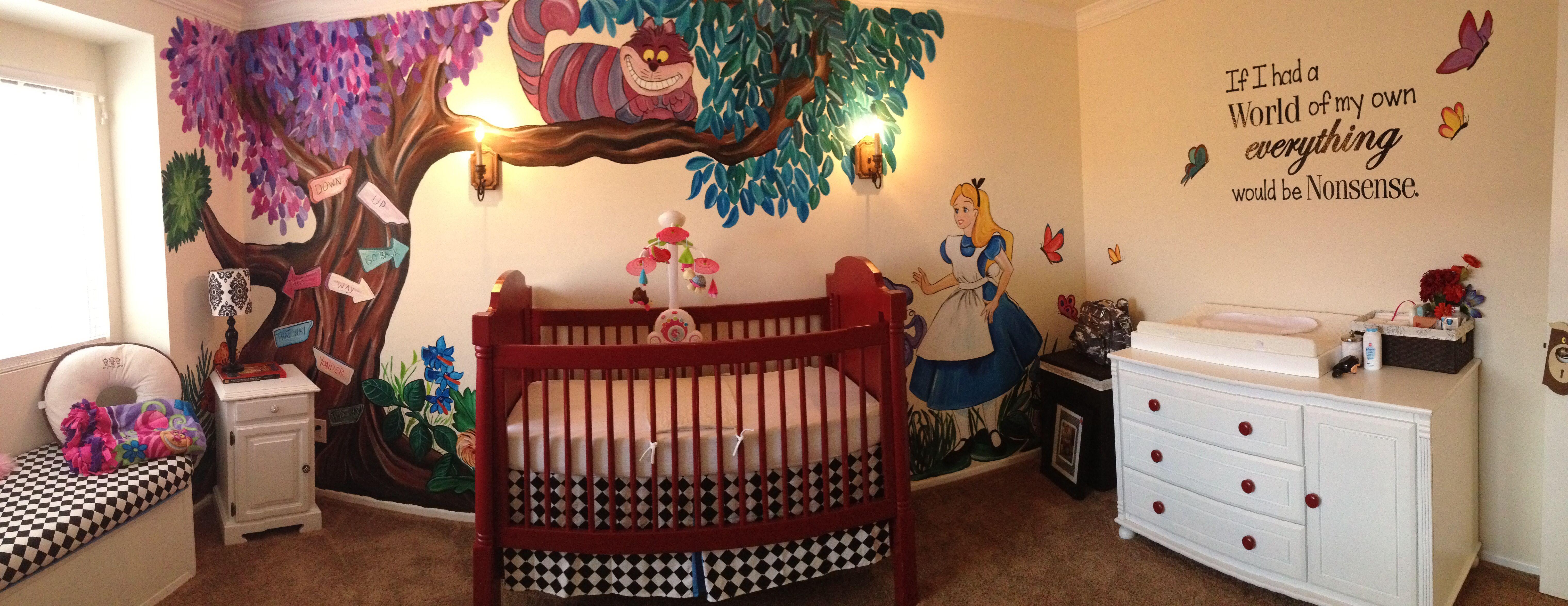 Alice in wonderland mural disney decor products for Alice in wonderland mural