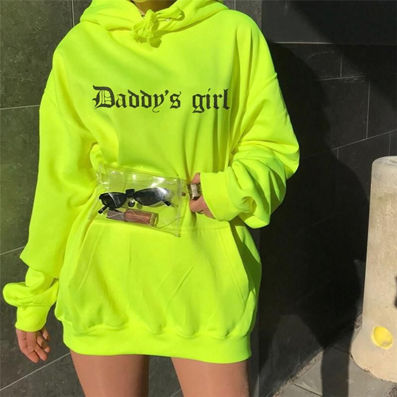 Daddy's Girl Fluorescent Color Hooded Sweatshirt in 2020