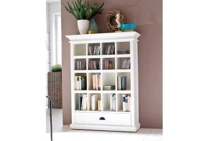 white wooden bookshelf with