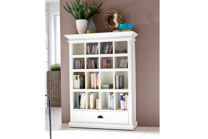 White Wooden Bookshelf With Sixteen Shelves Plus Single Drawer On
