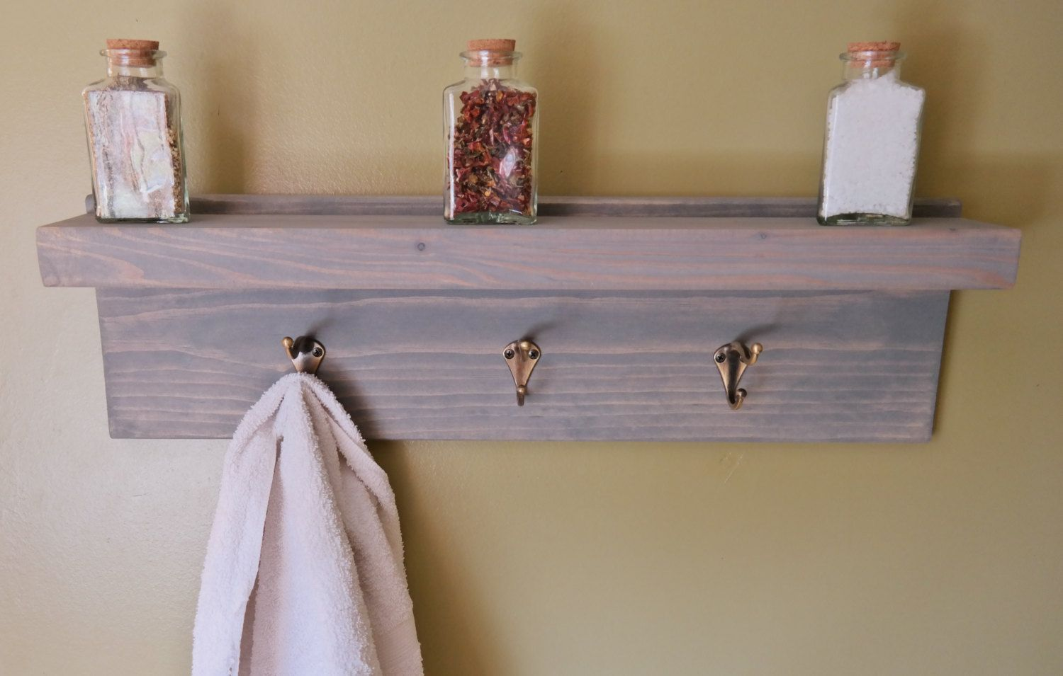 Weathered Gray Rustic Bathroom Floating Bath Shelf Bronze Robe Towel ...