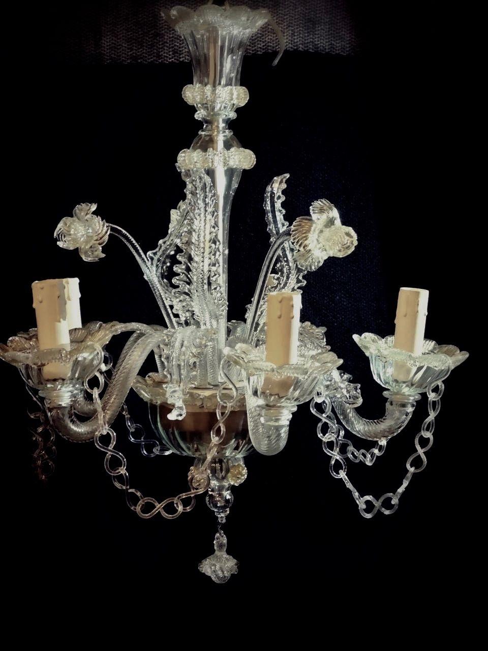 Venetian Murano Glass Daffodil Chandelier