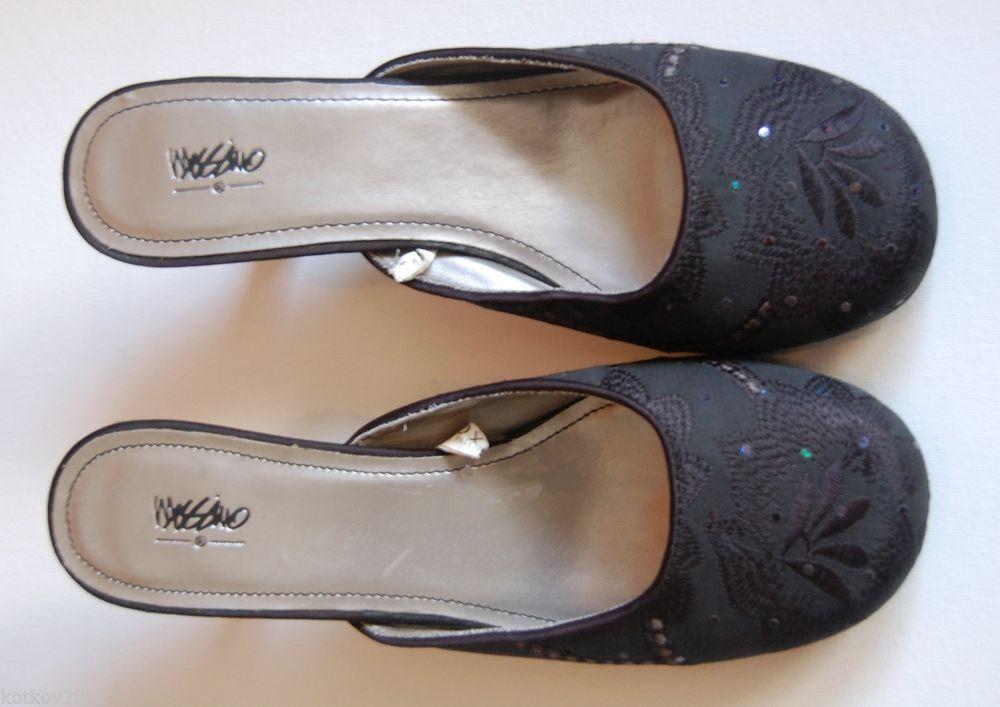 Closed Toe Open Back Black Embellished Sandals