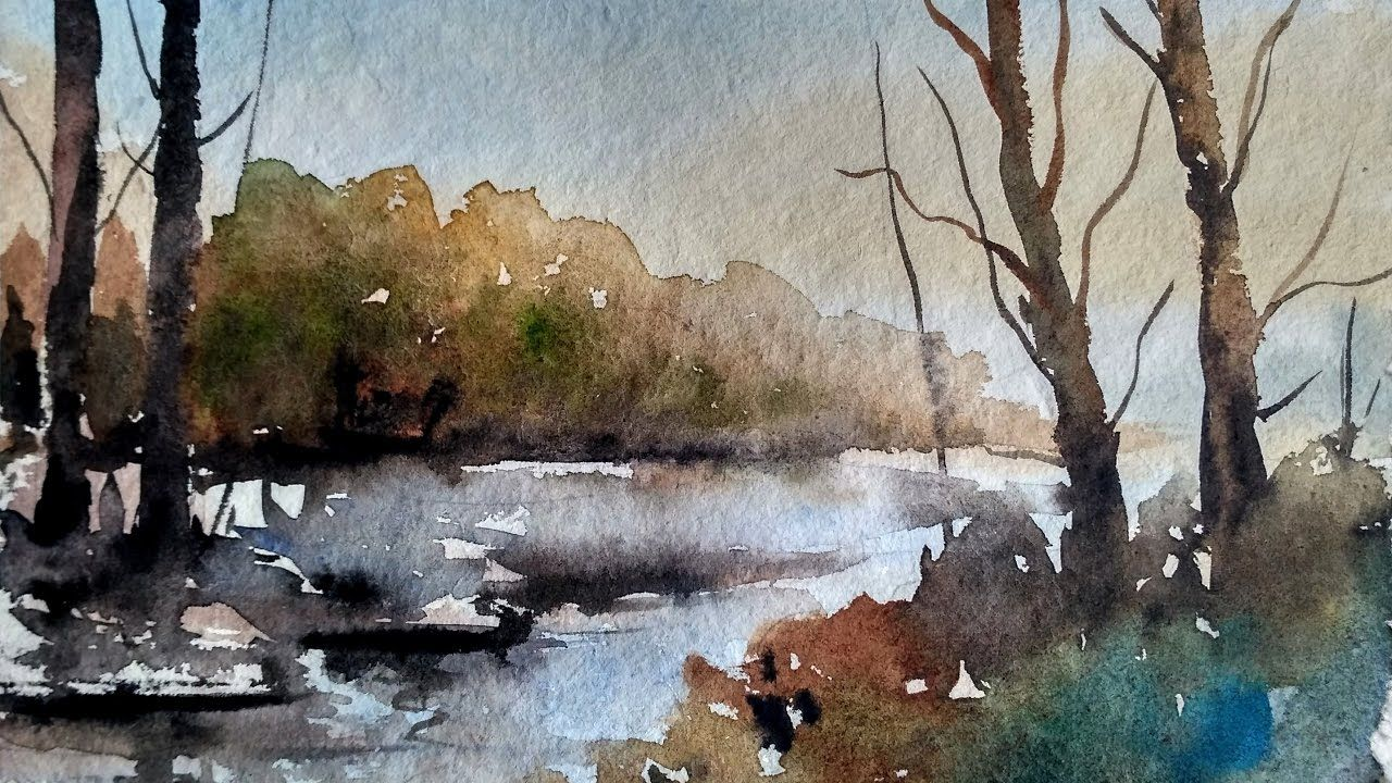 Simple Landscape In Watercolor Paint With David Watercolor