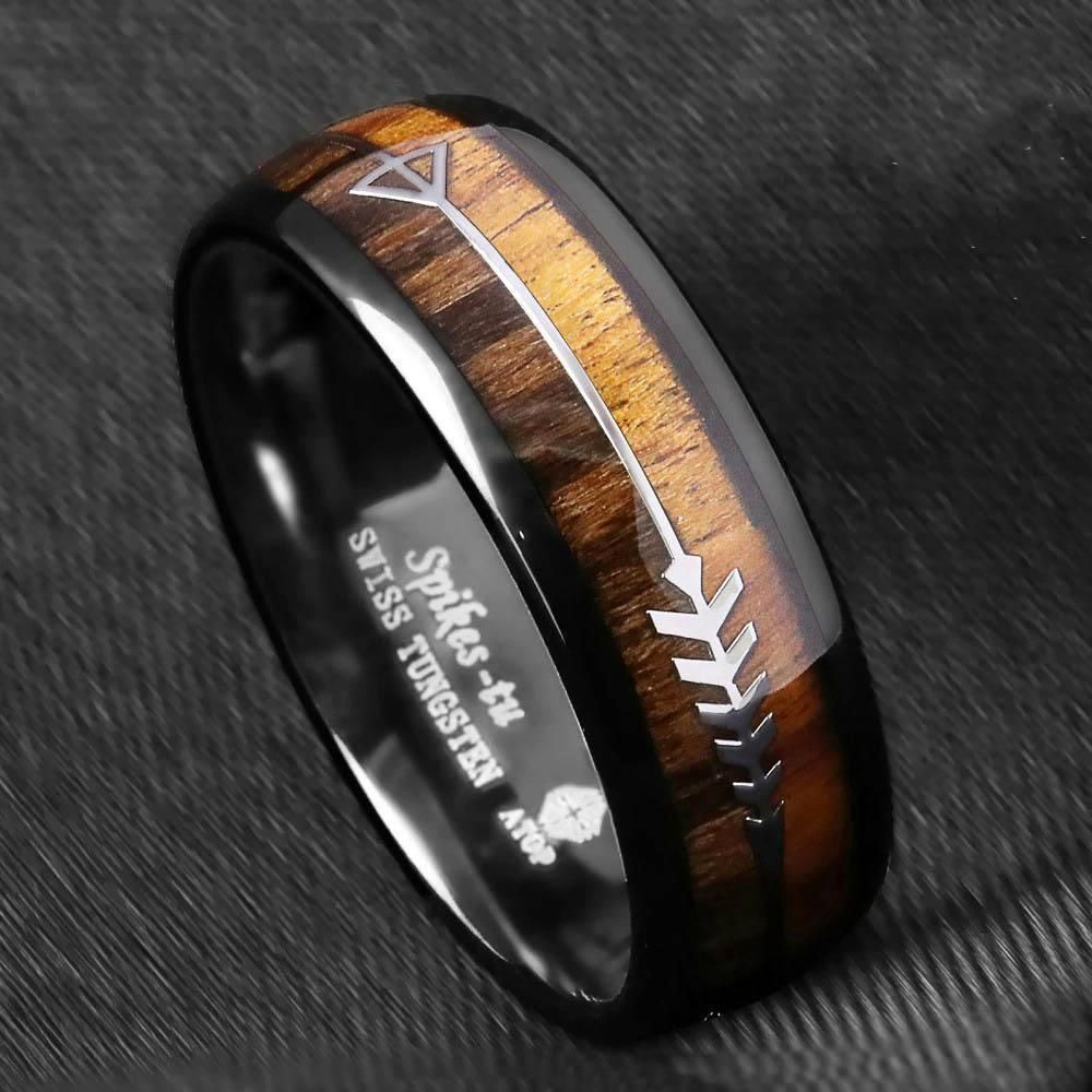 Black Tungsten Carbide Wedding Band With Wood and Arrow