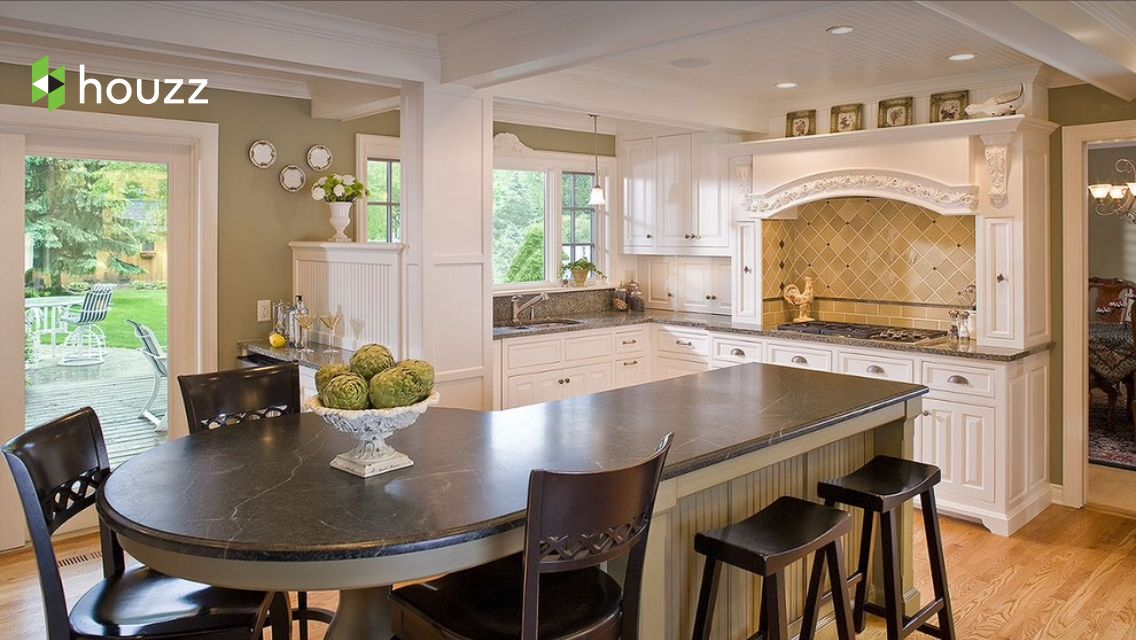 sitting area counter shape idea add color grey here like this island green custom kitchen on kitchen island ideas v shape id=34381