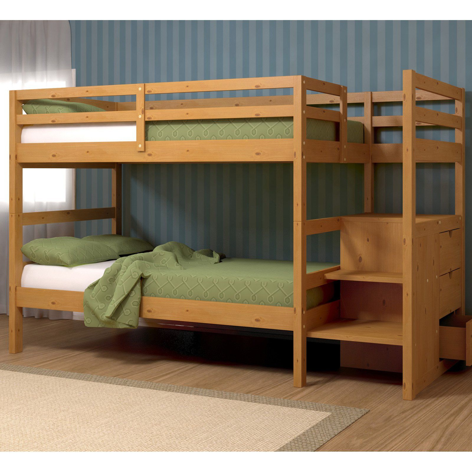 Twin Bunk Beds with Stairs - Kids love bunk beds! Check out Toddlerbunkbeds.net