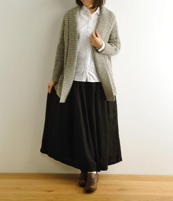 手紡糸カーディガン(グレー)【リンネル11月号掲載