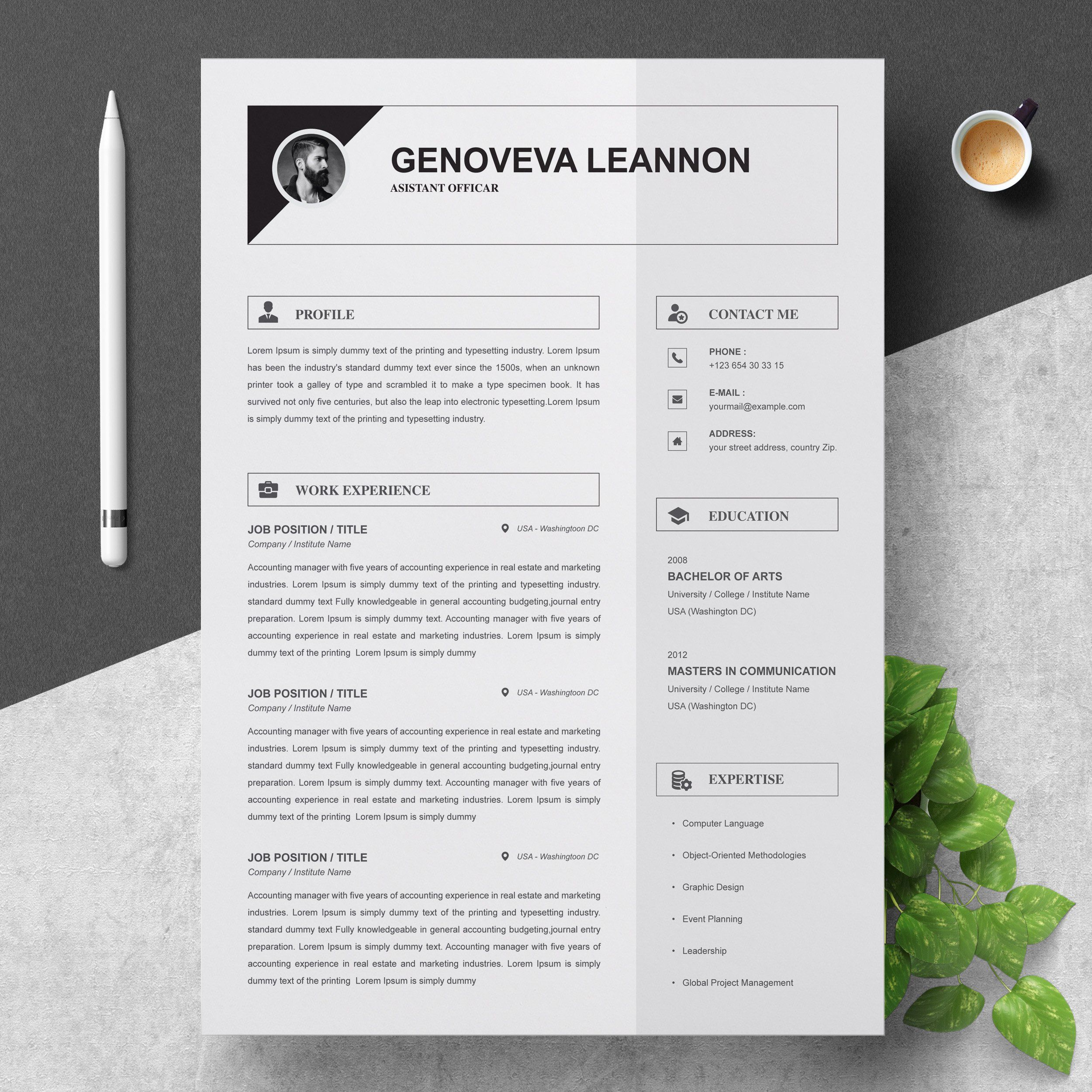 Resume Template and Cover Letter by ResumeInventor on ...