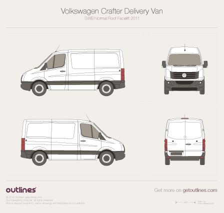 Volkswagen Crafter Delivery Van SWB Normal Roof (Facelift) vector PDF templates