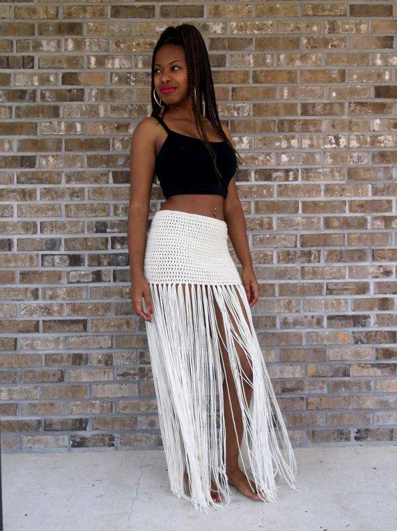 Custom Hand Crochet Fringe Maxi Skirt Floor Length Long Fringe