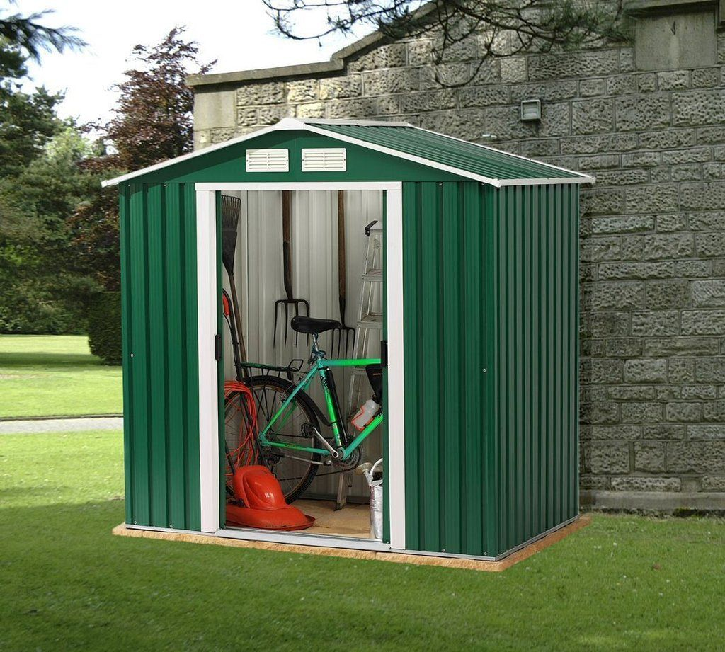 The Emerald Parkdale 6'x6' and 6'x8' Apex Metal Shed are 6 ...