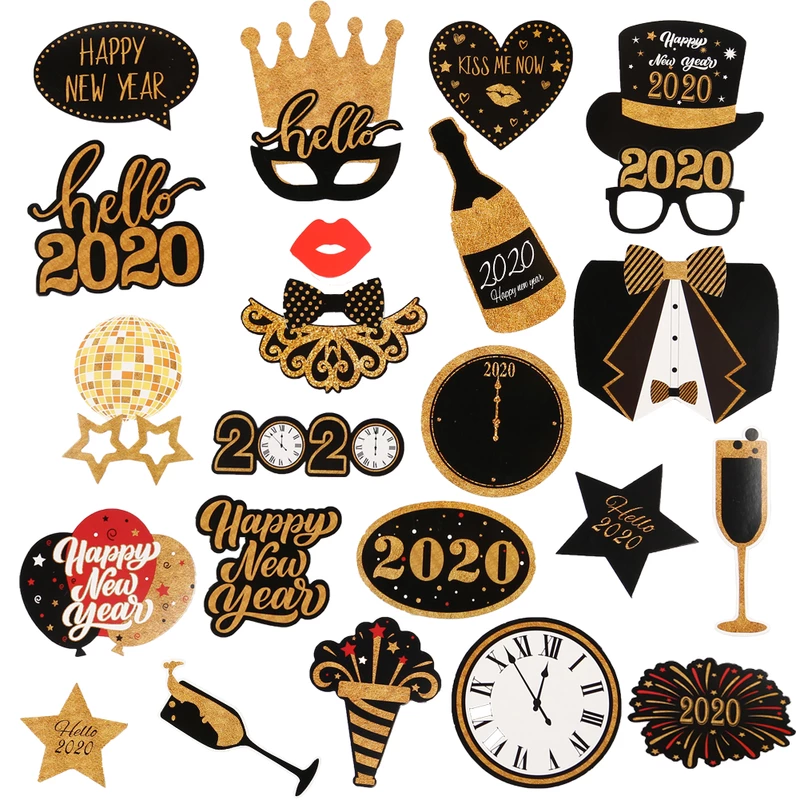 2020 New Year Eve Creative Photo Booth Selfie Props New Years Eve Decorations Photo Booth Props Party Photo Booth