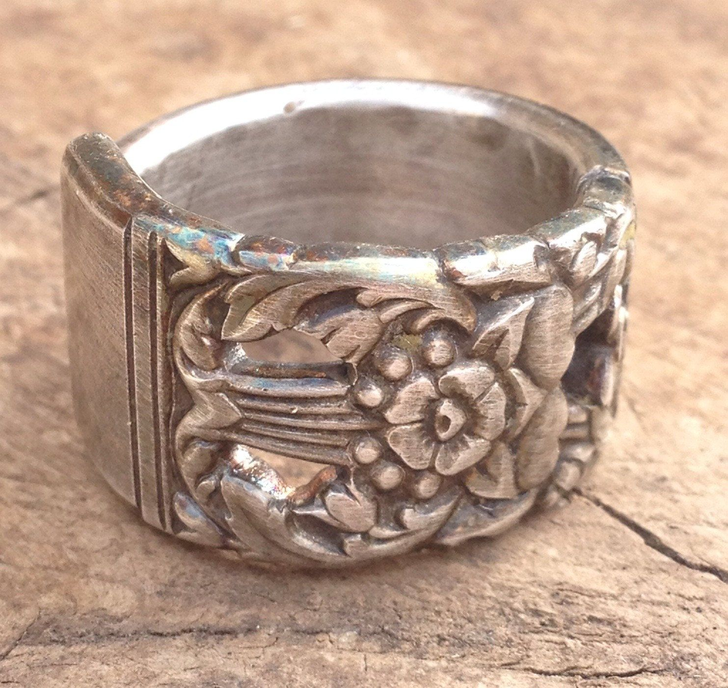 Floral Ring Gifts for Her Boho Ring Vintage Spoon Ring Silverware Jewelry Silver Spoon Ring Size 4.5 Spoon Ring