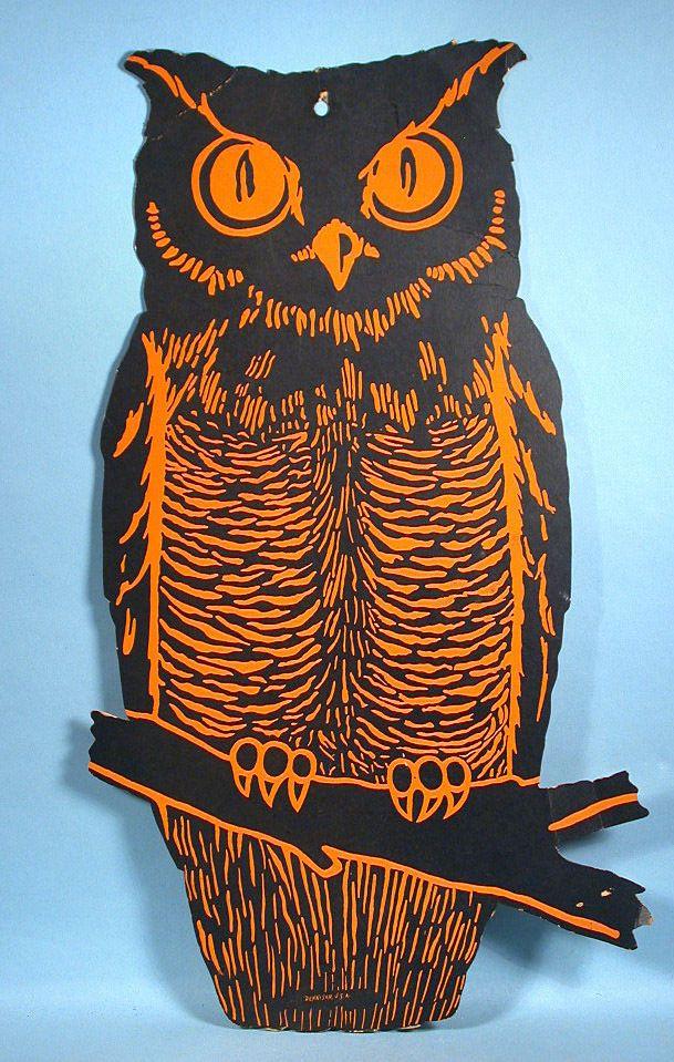 1920-30s Dennison Halloween Owl Decoration 18\ - vintage halloween decorations