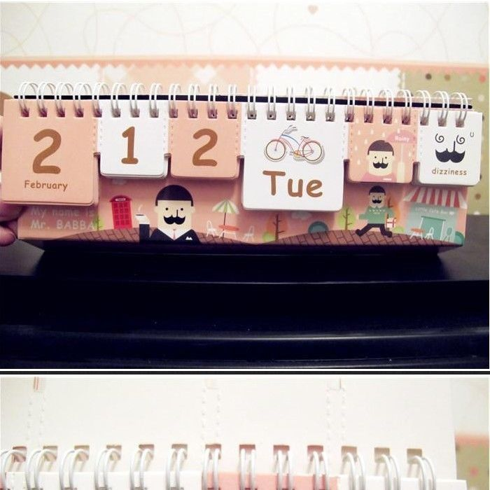 mrbabba desk diy calendar any year scheduler planner weather mood cute gift