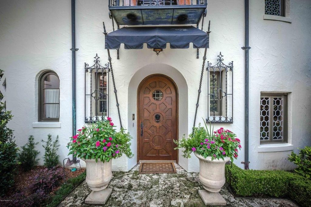 Traditional Front Door With Exterior Tile Floors Exterior Awning