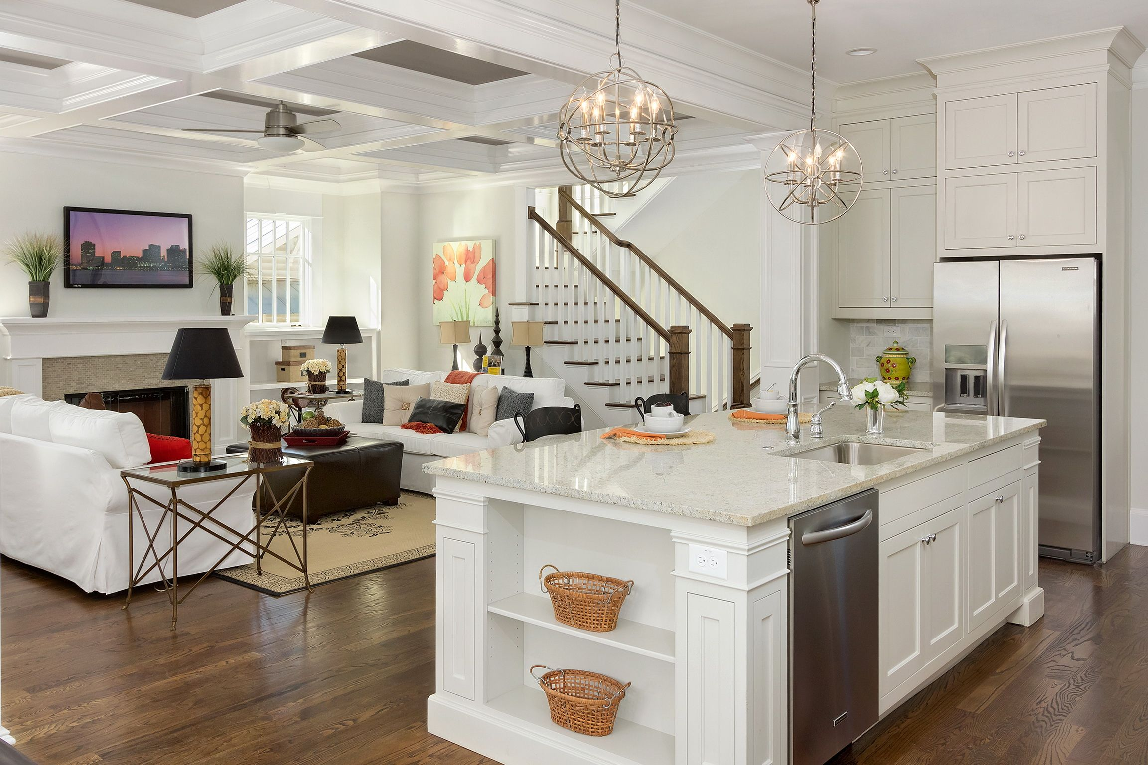 Remarkable Kitchen Inspired With Double Globe Chandelier Lamps And White  Wall Paint Color And Wooden Floor