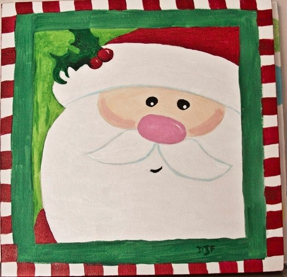 Cute Santa Canvas Paint Idea For Wall Decor Christmas Claus Red White And Green Painting Paintings