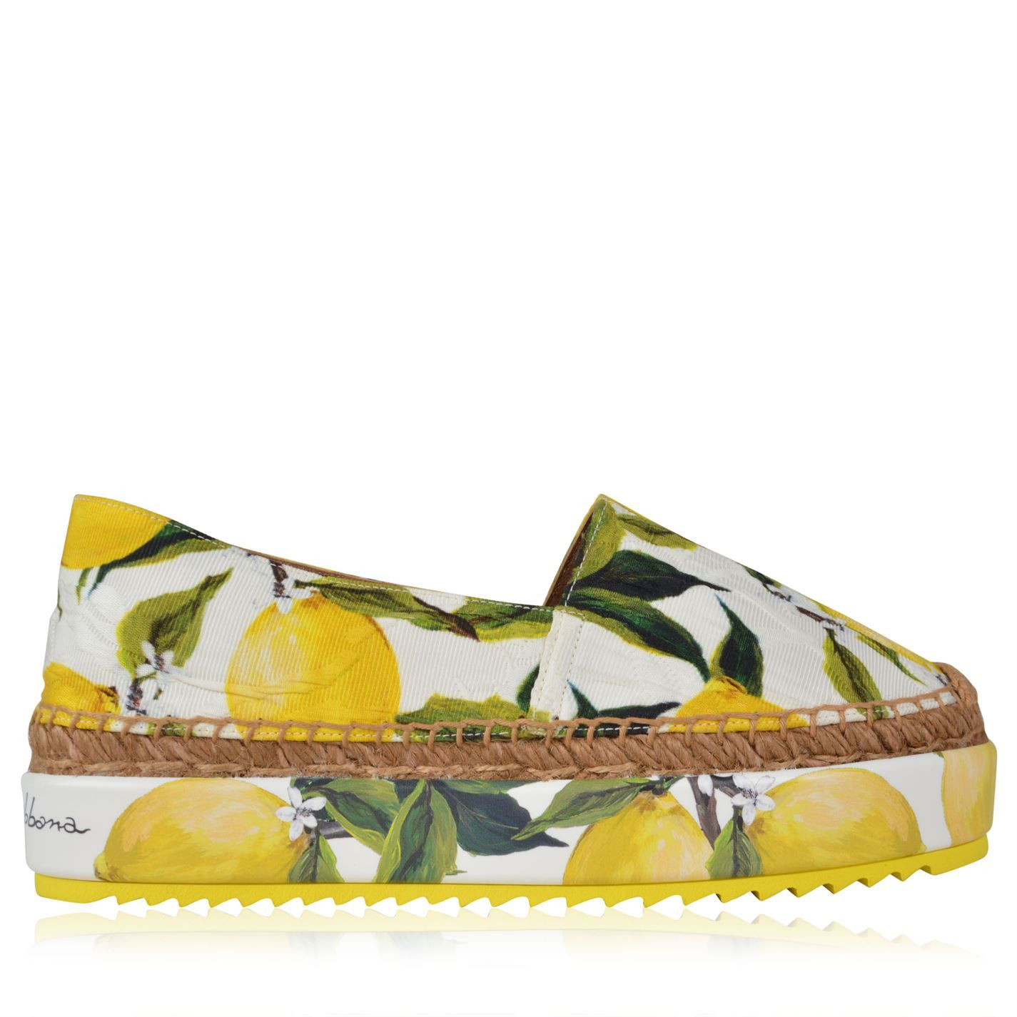 There's nothing more fun than these Dolce and Gabbana citrus espadrilles.  We approve.