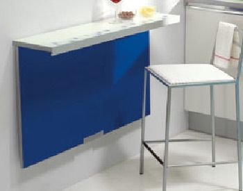 Wall mounted kitchen table with colored panel for the for Mesas cocina plegables