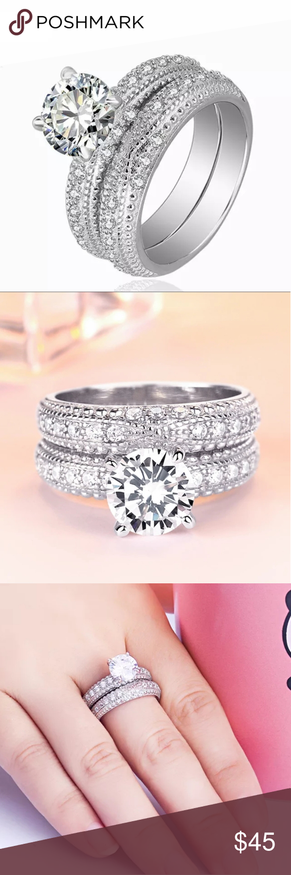 925 Sterling Silver Cz Wedding Ring Set Cz Wedding Ring Sets Wedding Ring Sets Cz Wedding Rings
